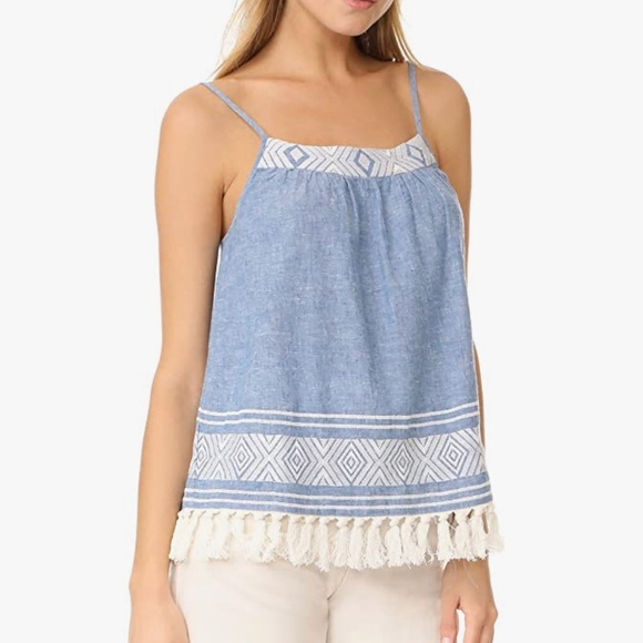 Joie Tank Top Agneza Chambray Embroider Tassels XS